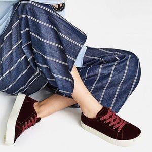 Zara burgundy velvet sneaker comfy chic soft wine